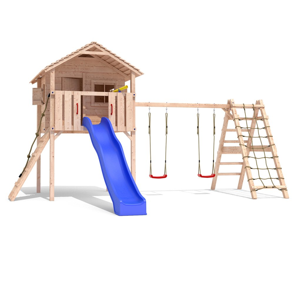FRIDOLINO Spielturm Baumhaus Stelzenhaus Schaukel Kletterturm Rutsche Holz (erweiterter Schaukelanbau) bestellen