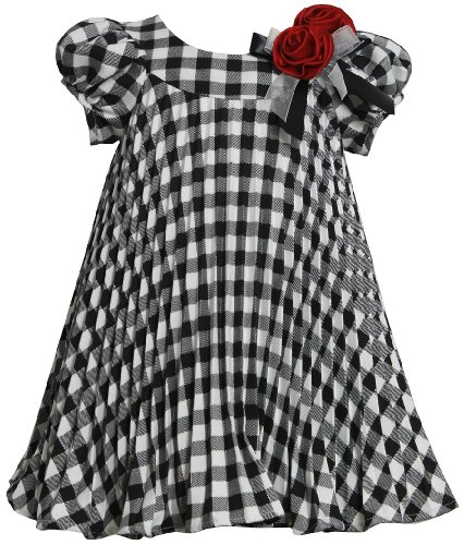 Bonnie Baby Baby-Girls Infant Check Crystal Pleated Dress, Black/White, 12 Months front-907253