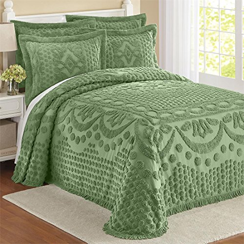 Georgia Cotton Chenille Bedspread with Shams, Sage
