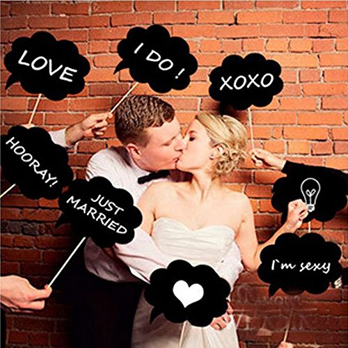 10 Pcs DIY Colorful Photo Booth Props Biotite Dialog Blackboard for Fun Wedding Favor Party Favor (Oak Tag Poster Board compare prices)