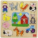 Goula - Puzzle siluetas granja, 12 piezas de madera (Diset 53025)