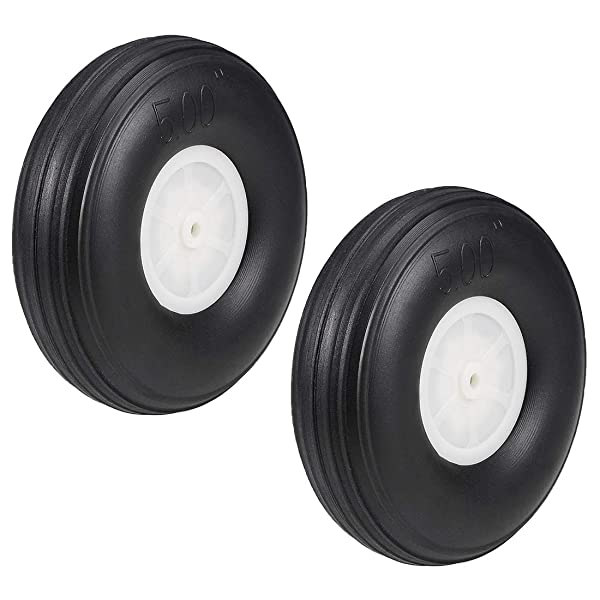 uxcell Tire and Wheel Sets for RC Car Airplane,PU Sponge Tire with Plastic Hub,5 inches 2pcs (Tamaño: 5 2pcs)