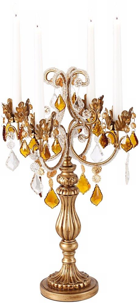 """Golden Droplets 19 1/2"""" High Candelabra Votive Candle Holder"""