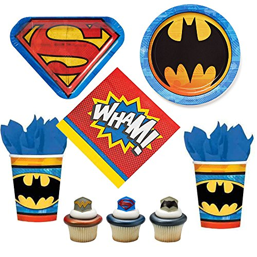 07 Batman vs Superman - Dawn of Justice theme - party supplies for 12-16 guests, dinner plates, napkins, cups, cupcake rings