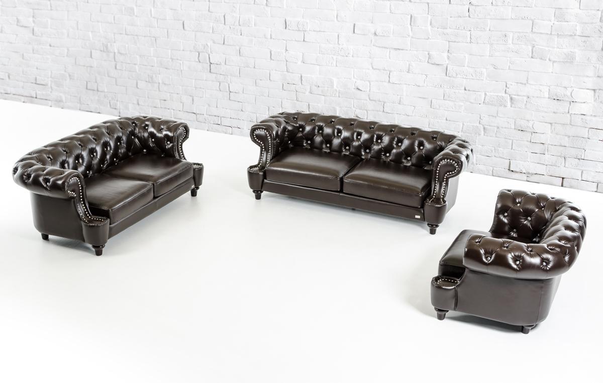 Divani Casa D6022 - Transitional Chocolate Italian Leather Sofa Set