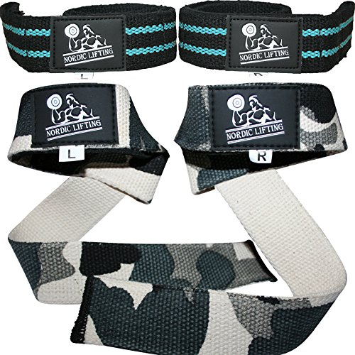 Lifting Straps (2 Pairs/4 Straps) for Weightlifting, CrossFit, Workout, Gym, Powerlifting, Bodybuilding- Better Than Chalk & Leather - Support For Women & Men -(Aqua Blue & Camo Grey)- 1 Year Warranty (Guantes De Football compare prices)