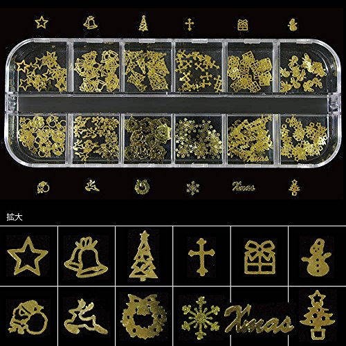 クリスマス 薄型メタルパーツセット ゴールド240枚 ネイル&レジン用 12種類 ケース入り
