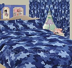 ARMY CAMOUFLAGE CAMO MILITARY KING BED DUVET QUILT COVER BEDDING SET BLUE - NEW
