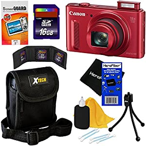 Canon PowerShot SX610 HS 20.2 MP Wi-Fi Digital Camera with 18x Optical Zoom & HD 1080p video, Red (International Version) + 7pc 16GB Accessory Kit w/ HeroFiber Gentle Cleaning Cloth