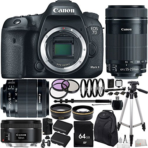 Canon-EOS-7D-Mark-II-DSLR-Camera-w-EF-S-18-55mm-f35-56-IS-STM-Lens-EF-S-55-250mm-f4-56-IS-STM-Lens-EF-50mm-f18-STM-Lens-64GB-Bundle-29PC-Accessory-Kit-Includes-64-GB-Memory-Card-High-Speed-Memory-Card