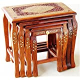Wooden Stool Set Of 4 Handcrafted In Seasoned Sheesham Wood With Brass Work