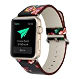 YOSWAN Bracelet for Apple Watch, National Black White Floral Printed Leather Watch Band 38mm 42mm Strap for Apple Watch Flower Design Wrist Watch Bracelet (Black+ Red Flower, 38mm) (Color: Black+ Red flower, Tamaño: 38mm)