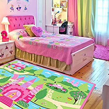 HUAHOO Pink Girls Bedroom Rugs Cartoon Castle Kids Rug Bedroom Floor Rugs Nylon Cartoon Kids Living Room Carpet