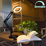 Flexible Arm Desk Lamp, Dimmable LED Work Desk Lamps-6W, Clamp-on Desk Light,Eye-Care Soft Light, Reading Lamp, Bedroom Lamps, Multi-Joint Adjustable Arm Desk lamp, Black Painted with Metal Clamp (Color: Black)