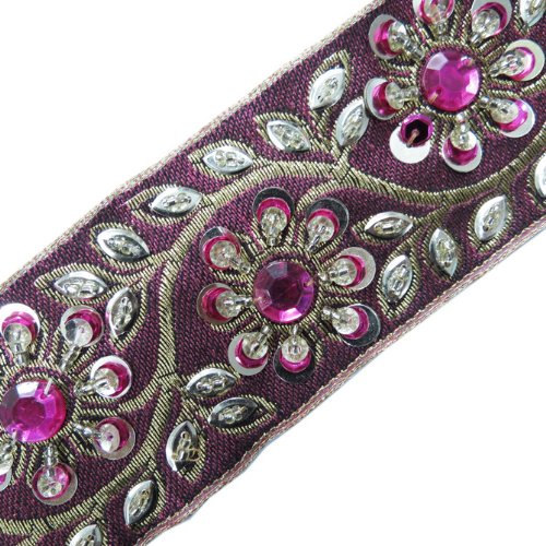 Hand Beaded Pink Stone Sequin Trim Ribbon Sewing 1 Yd