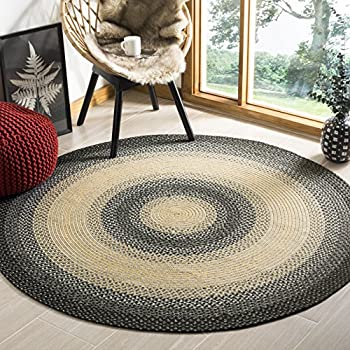Safavieh Braided Collection BRD311A Hand Woven Black and Grey Round Area Rug (6 Diameter)
