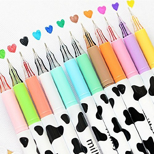 Allife® 12pcs/pack Multi Colors Colorful Gel Pen Sweet-style Design Pin Type Ink Pen (Milky)