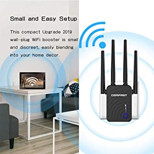 ?Newest 2019? Wireless WiFi Range Extender with 5GHz & 2.4GHz Dual Band Up to 1200Mbps High Speed WiFi Signal Booster Ideal for Home Office Gaming & HD Video Streaming Works Great with Any Routers