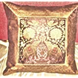 CRAFT OPTIONS SILK BROCADE EMBROIDERED CUSHION COVER (BROWN COLOR)