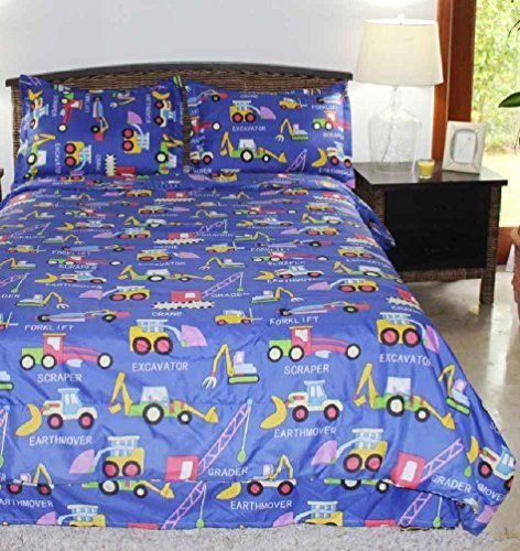 Multiple Sizes - Boys Comforter Set - Diggers And Movers Blue - Kids Style-Twin- Exclusively By Blowout Bedding Rn #142035