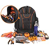 Large Capacity Electrician Tool Backpack, Maintenance Installation Tool Bag Organizer, Canvas Tool Bag With With Reinforced Rubber Bottom, Multifunctional Tool Backpack Bag,Waist Back Protection,Blak