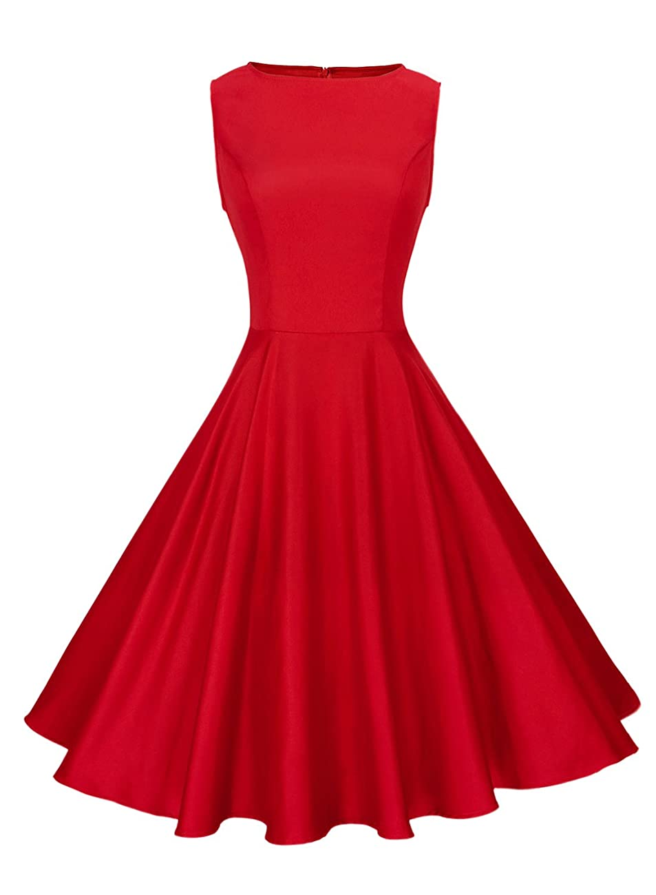 Anni Coco Women's Classy Audrey Hepburn 1950s Vintage Rockabilly Swing Dress 0