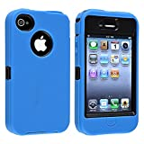 eForCity Hybrid Case compatible with Apple iPhone 4 / 4S, Black Hard/ Blue Skin Reviews