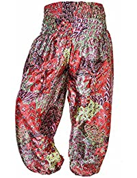 Boho Multi Color Over Waist/Wide Leg Long Yoga Palazzo Pants - B071XMF7PH