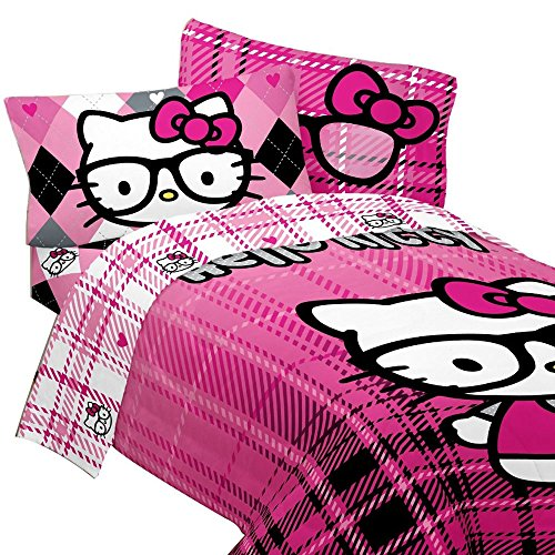 Sanrio-Hello-Kitty-Bedding-Set-I-Heart-Nerds-Pink-Plaid-Comforter-and-Sheet-Set