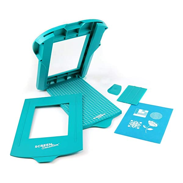 Screen Sensation Screen Printing Kit, Portable for use on All Surfaces - Create Desings on Fabric, Walls, Wood, Paper and More (5 x 7) (Color: Teal, Tamaño: 5 x 7)