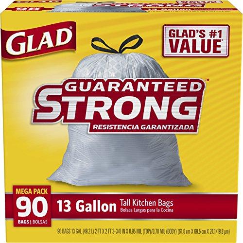 Glad Tall Kitchen Drawstring Trash Bags, 13 Gallon