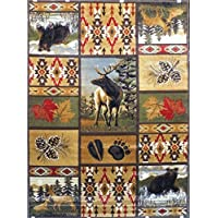 Area Rug Wildlife Bear And Elk Scene