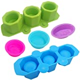3 Pcs Silicone Pan Soap Molds & 2 Pcs 3 Cavities Plant Flower Pot Silicone Molds, SENHAI Silicone Ice Shot Glass Molds for Cake Muffin Candle Making, Ceramic Craft, Polymer Clay