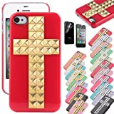 Pandamimi ULAK(TM) Cross Design Pyramid Punk Studs Nails Case Cover For iPhone 4 4S with free Screen Protector (Red+Gold Cross) Reviews