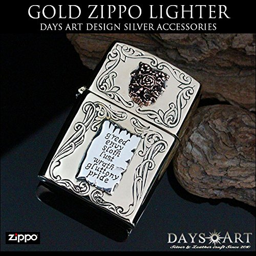 'good vibrations.' Zippo lighter rose Monuments brass solid brass デザインアーマー model oil lighter men's tattoo biker
