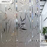 Rabbitgoo® 3D No Glue Static Cling Film Privacy Glass Bamboo Frosted Window Films 3Ft By 6.5Ft (90cm By 200cm)