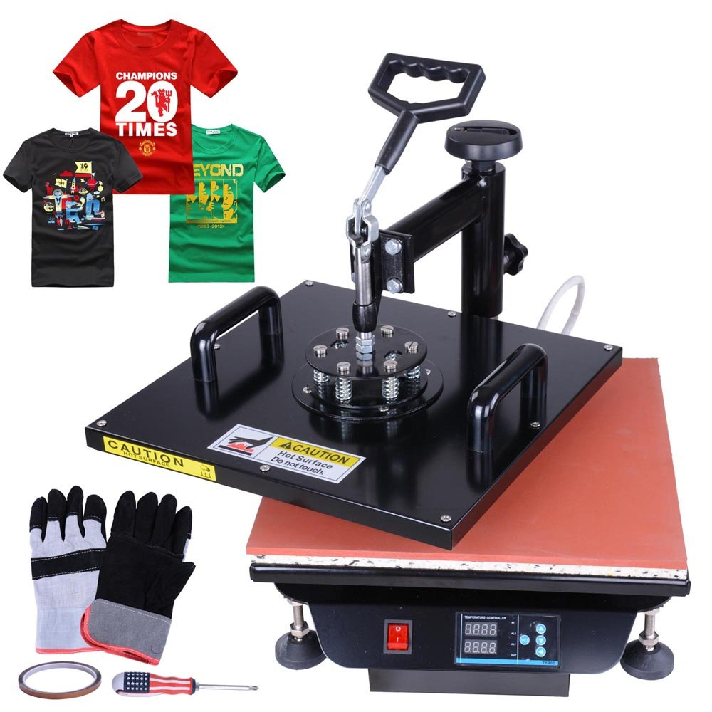 """Yescom 15""""x15"""" Digital Swivel Heat Sublimation Transfer Press Machine for T-shirt with Gloves"""