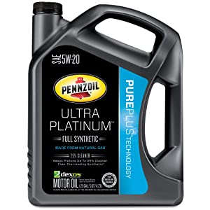 Pennzoil 550038330 Ultra Platinum 5W-20 Full Synthetic Motor Oil- 5 Quart Jug