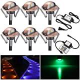 FVTLED Pack of 6 Multi-Color Low Voltage LED Deck Lights kit F1.38