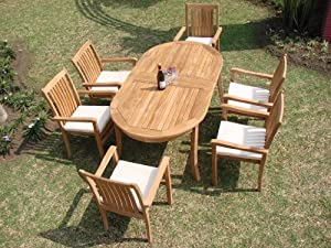 """Grade-A Teak Wood Luxurious Dining Set Collections: 7 pc - 94"""" Double Extension Oval Table And 6 Cahyo Stacking Arm Chairs"""