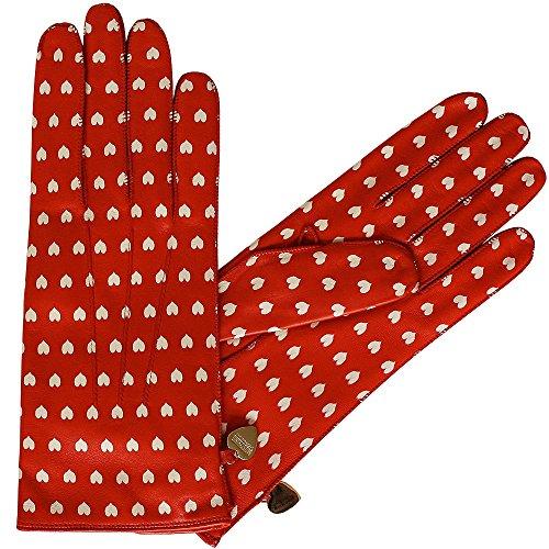 Moschino guanti in pelle ferrarirot con cuori, Size 7; 7,5; 8 crema rosso 7
