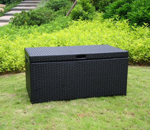Wicker Lane ORI003-D Outdoor Black Wicker Patio Furniture Storage Deck Box