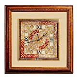 Stop Here Large Marble Wall Clock With Kundan Work(12 Inches,Mutli Color)