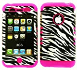 Apple Iphone 3 GS For At&T Hybrid 2 In 1 Zebra Case Black and Silver
