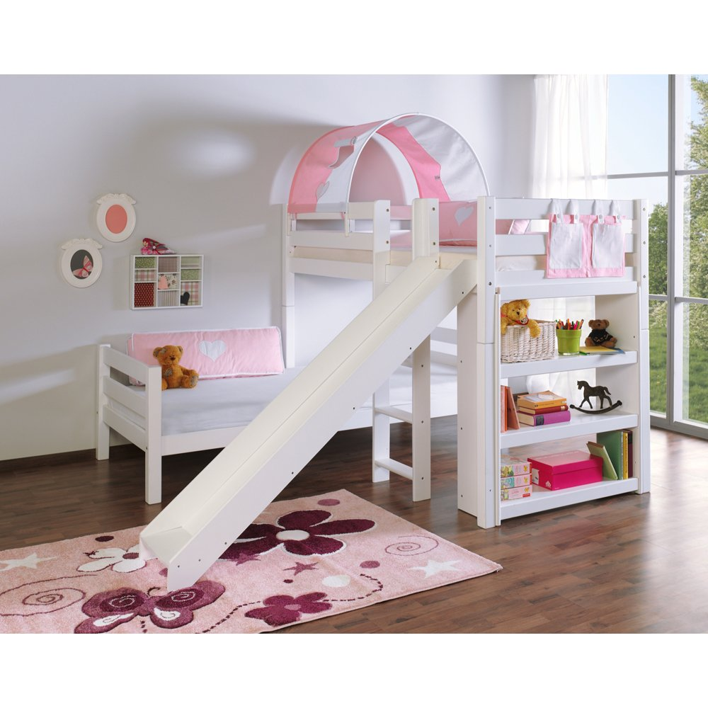 Relita Etagenbett BENI L mit Rutsche, Buche massiv, weiß lackiert, mit Tunnel und Tasche rosa/weiß
