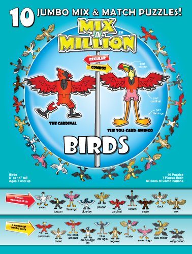 Birds Mix-A-Million 10 Jumbo Mix and Match Puzzles - 1