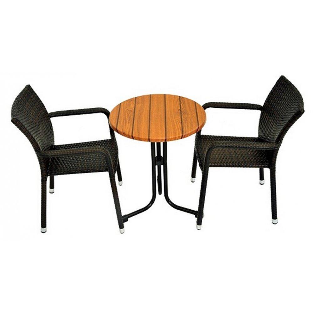 JUSThome Manila Gartenmöbel Sitzgruppe Gartengarnitur Set 2x Stuhl + 1x Tisch aus Technorattan Schwarz günstig kaufen