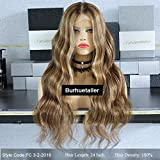 3T Balayage Ombre Ash Brown Blonde Loose Wavy Human Hair Lace Front Wigs (Tamaño: 20inch 130density)