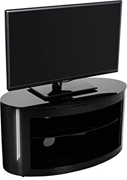 AVF Buckingham Black TV Stand Oval Shaped with 2 Shelves for 14 - 37 inch LCD Plasma LED Screens