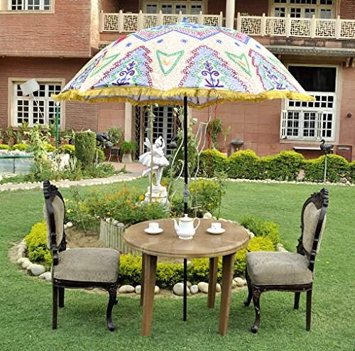 Indian Garden Umbrella Decorative Embroidered Outdoor Parasol Large 133 X  183 Cm